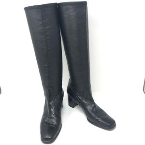 Stuart Weitzman Black Leather Calf High Boots
